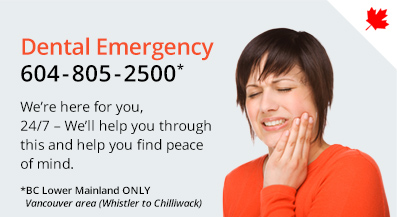 24/7 Emergency Dental service offered by 123Dentist - Call 604-805-2500