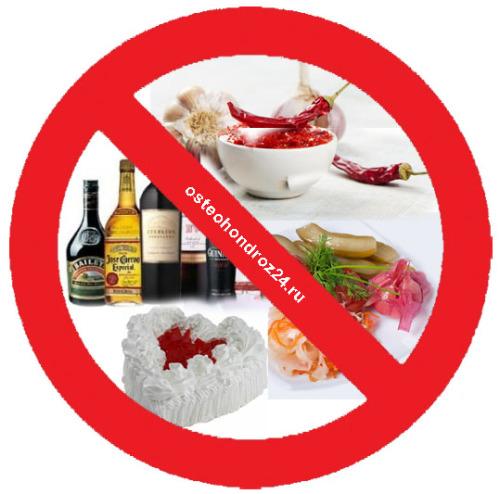 вредные продукты при остеохондрозе